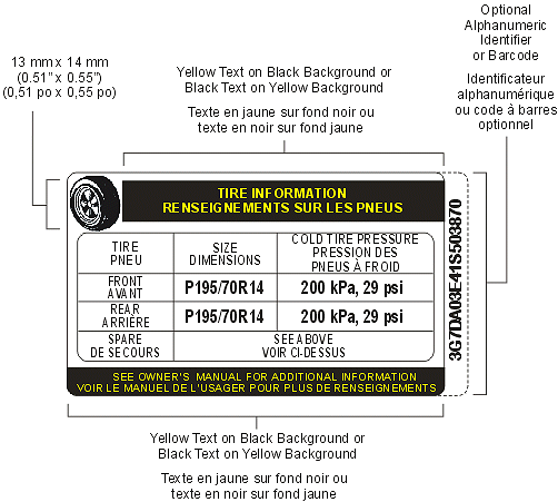 Symbol showing Tire Inflation Pressure Label, Bilingual Example with descriptions and measurements as per MVSR S110(2)(b)