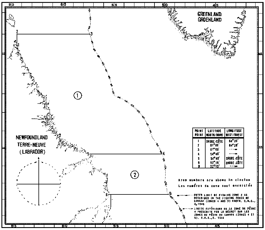 Map of Capelin Fishing Areas with latitude and longitude coordinates for seven points outlining the areas