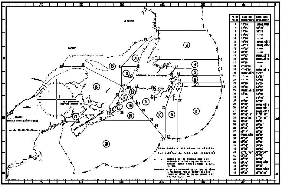 Map of Capelin Fishing Areas with latitude and longitude coordinates for forty-four points outlining the areas